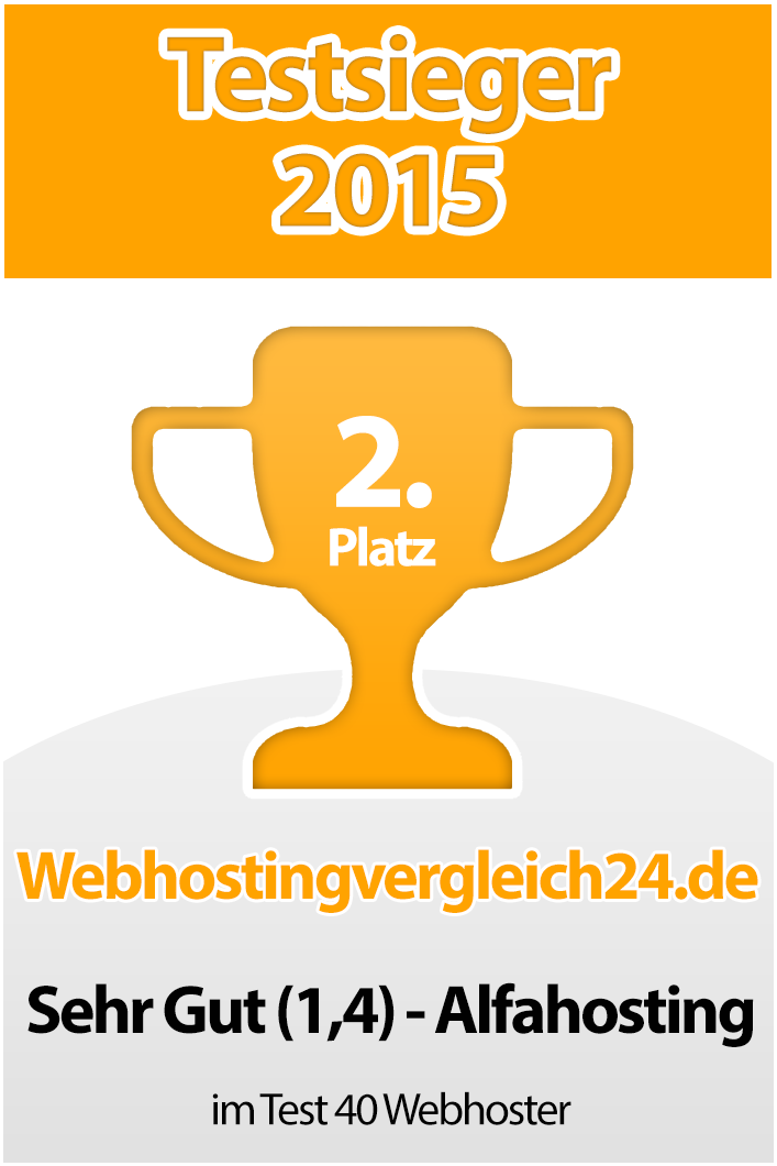 Testsieger 2015 Alfahosting