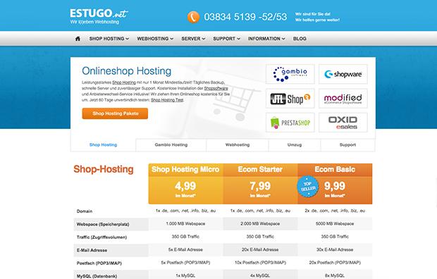 Estugo Webhostingpakete